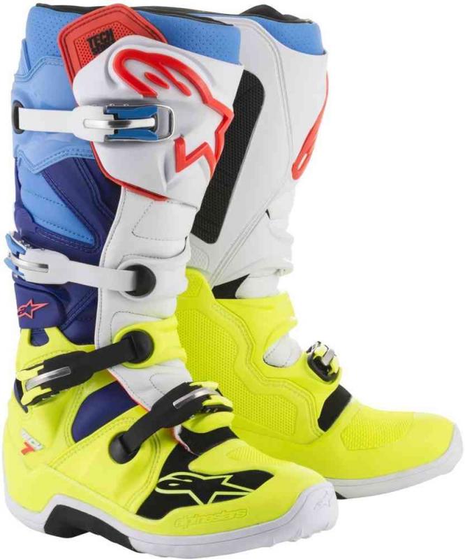 Čižmy na motocykel Alpinestars Tech 7 žlto-bielo-modro-červeno-čierne 63c9154059b