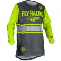 Detský motokrosový dres FLY Racing Kinetic ERA 2018 - USA šedo-fluo žltý