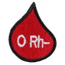 Nášivka s krvnou skupinou kvapka 0 Rh-
