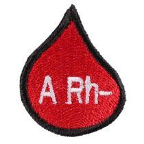 Nášivka s krvnou skupinou kvapka A Rh-