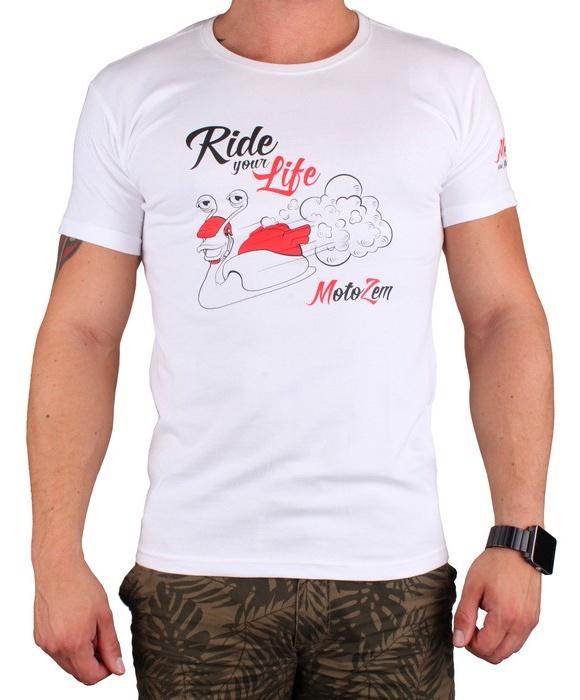 23b570d320b Tričko s motívom Motozem Ride your life biele