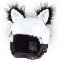 Uši na prilbu mačka čierna