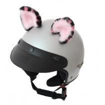 Uši na helmu Mačka ružová