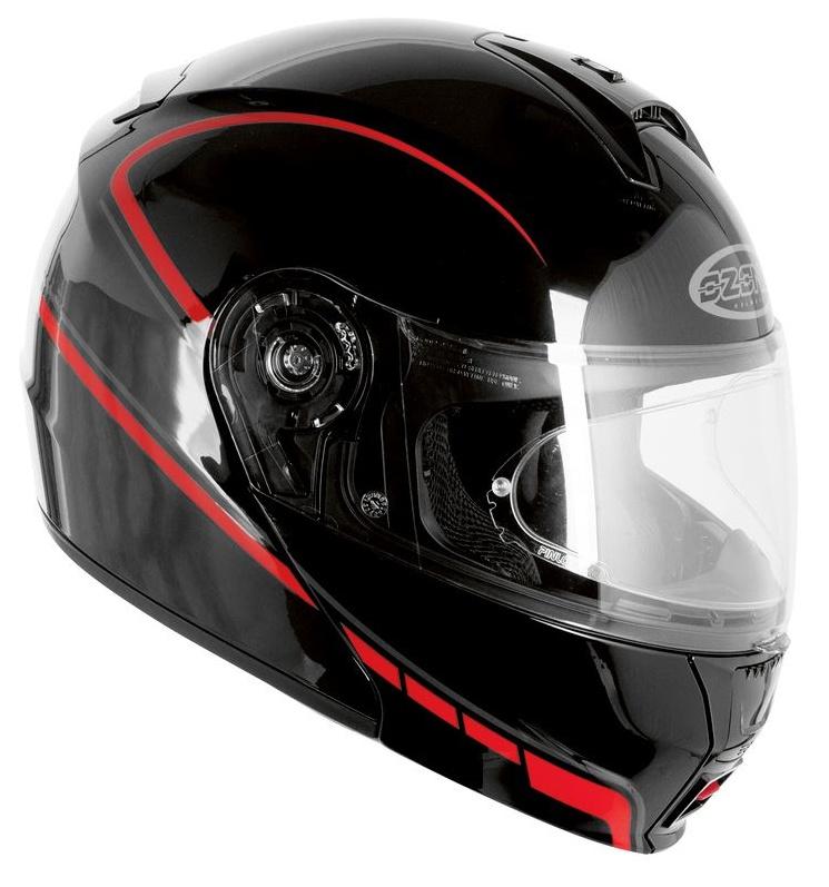 ... Vyklápací prilba na motorku Ozone FP-01 - čierno   červená + Pinlock  vypredaj 586c59dcba7