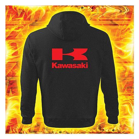 Mikina motív Kawasaki čierna s kapucňou výpredaj vypredaj