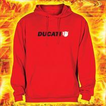 Mikina s motívom Ducati červená s kapucňou vypredaj