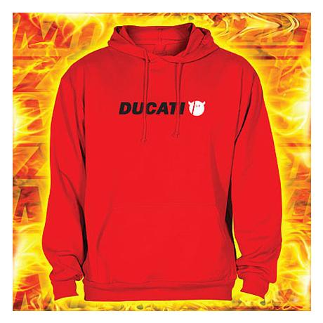 Mikina s motívom Ducati červená s kapucňou výpredaj vypredaj