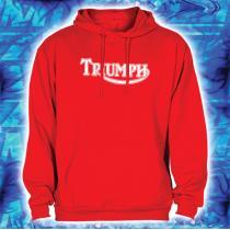 Mikina s motívom Triumph červená s kapucňou vypredaj
